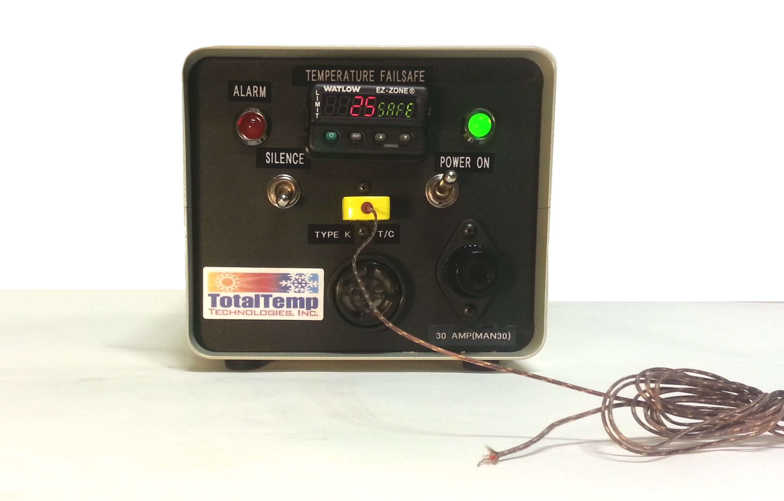 Limit Controller (Independent Failsafe) Has 4 AC Power outlets on the rear that lose power when fail-safe event occurs. Shown here using a Type K Thermocouple